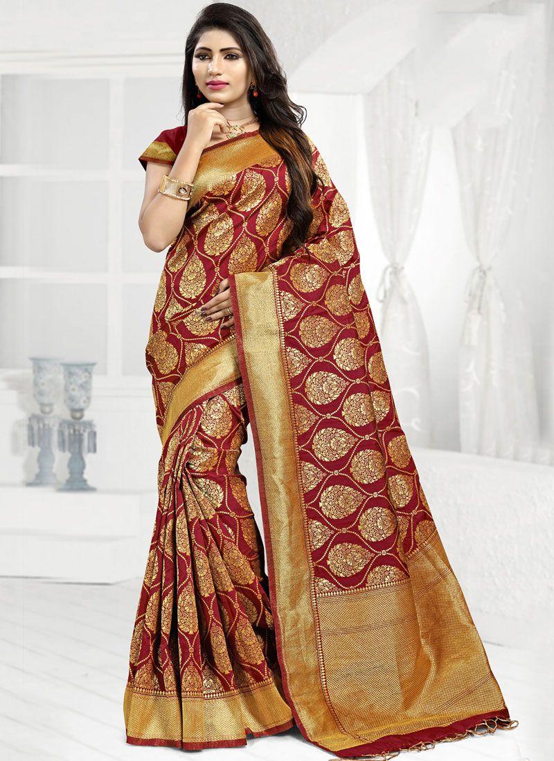 511fee67a0 Buy Maroon Abstract Print Banarasi Silk Designer Saree Online -