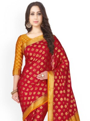 Maroon and Mustard Designer Traditional Saree