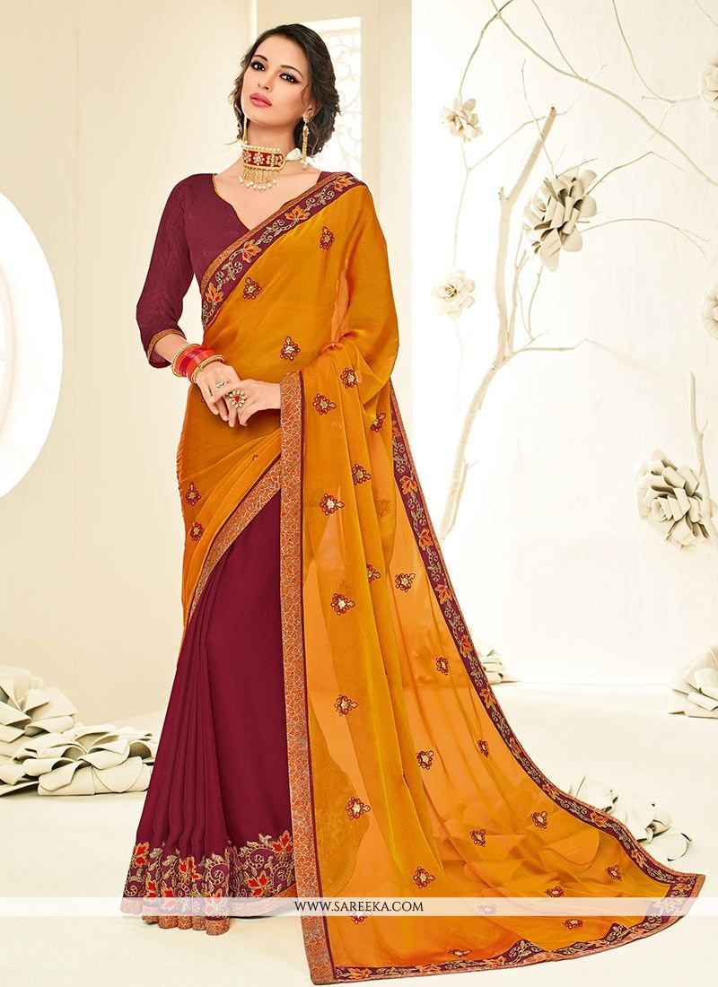 Maroon and Orange Patch Border Work Designer Half N Half Saree