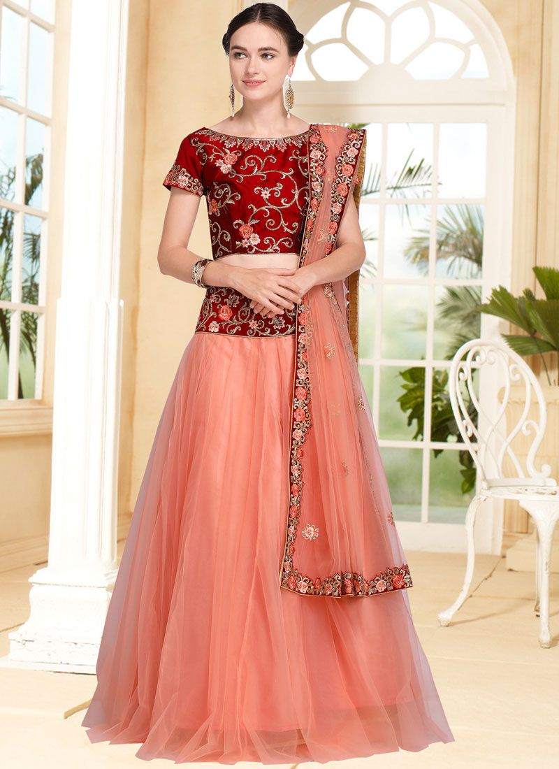 Buy Maroon And Peach Net Embroidered Lehenga Choli Online 92746