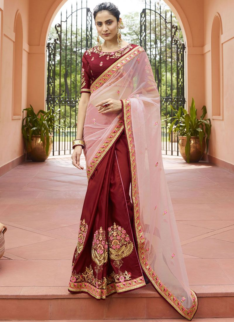 Maroon and Pink Tissue Border Classic Saree