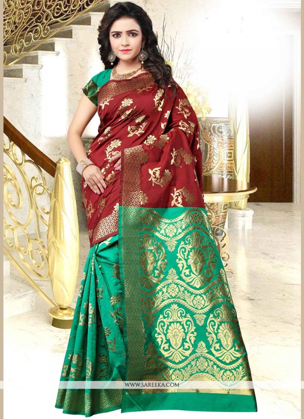 Maroon and Sea Green Designer Traditional Saree