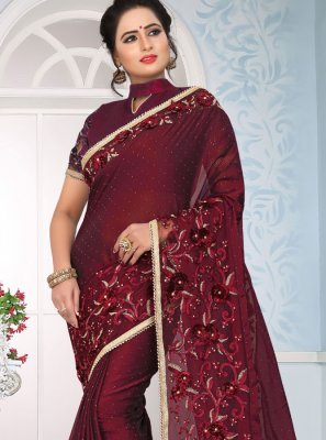Maroon Art Silk Lace Designer Traditional Saree