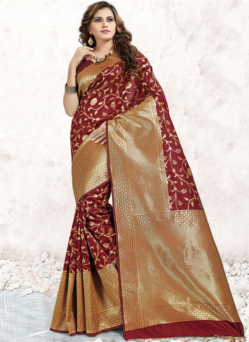 Maroon Banarasi Silk Abstract Print Designer Saree