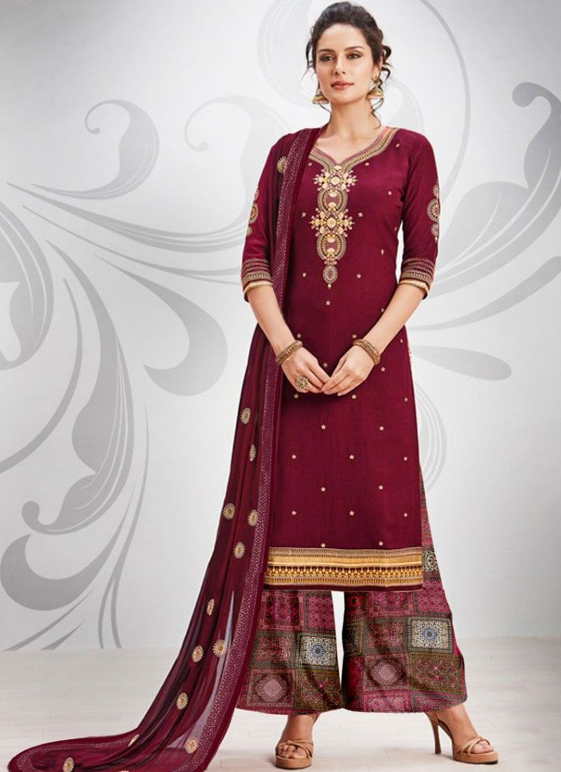 Maroon Cotton Silk Salwar Kameez