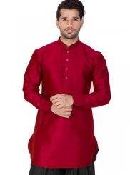 Maroon Cotton Silk Wedding Kurta Pyjama