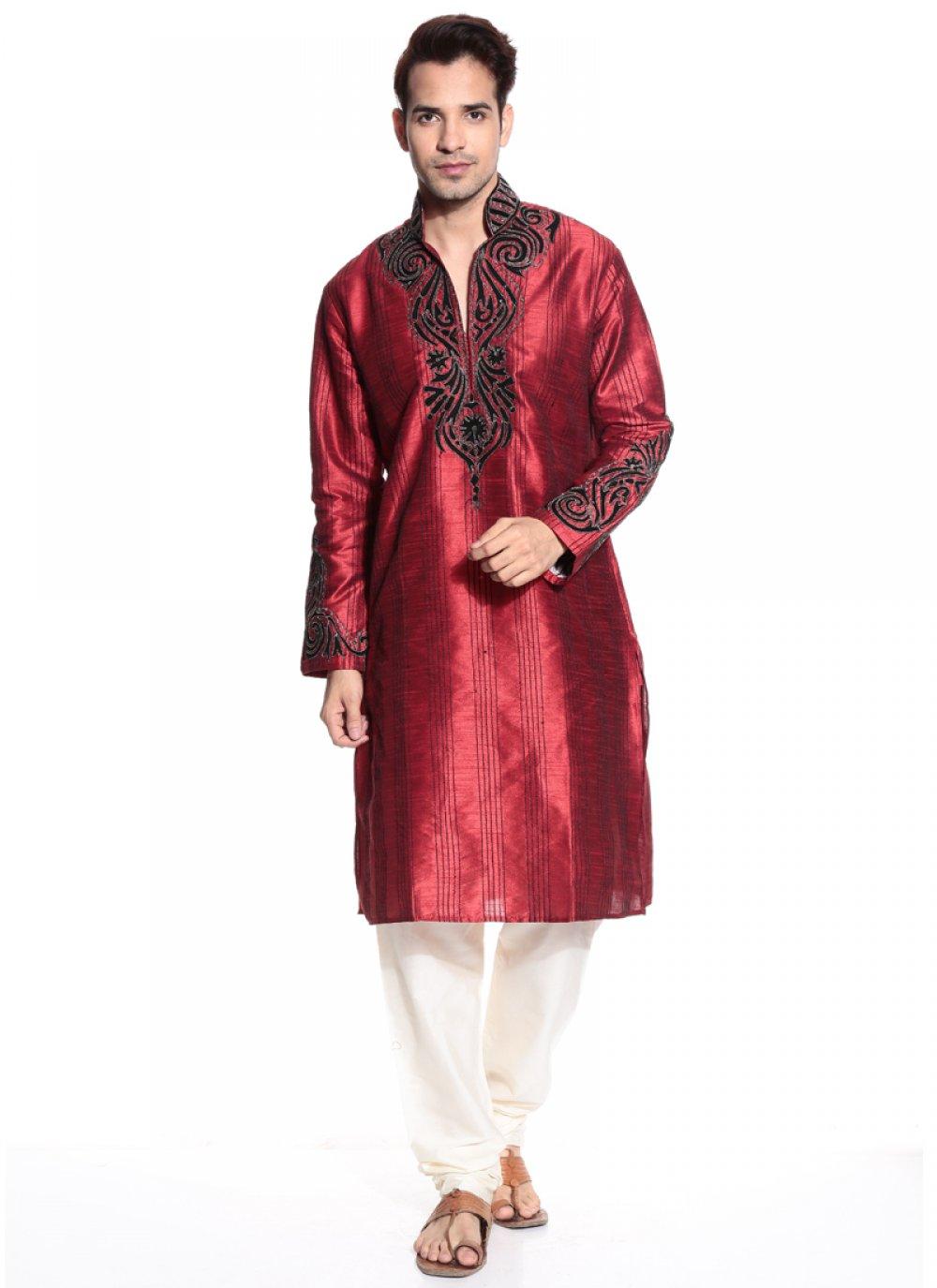 Maroon Dupion Silk Kurta Pyjama with Thread Work