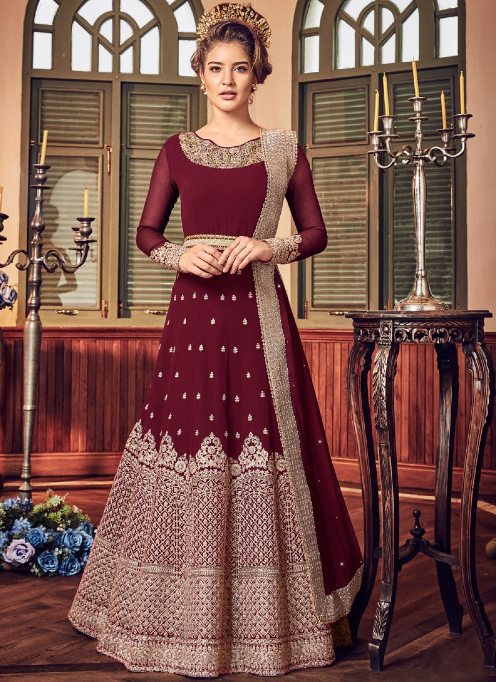 Maroon Embroidered Fancy Fabric Floor Length Anarkali Suit