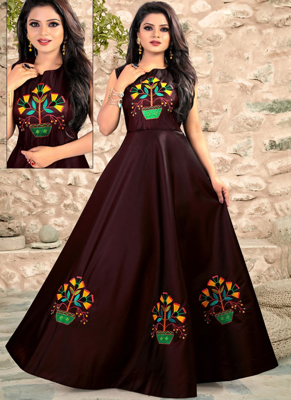 Maroon Embroidered Readymade Designer Gown