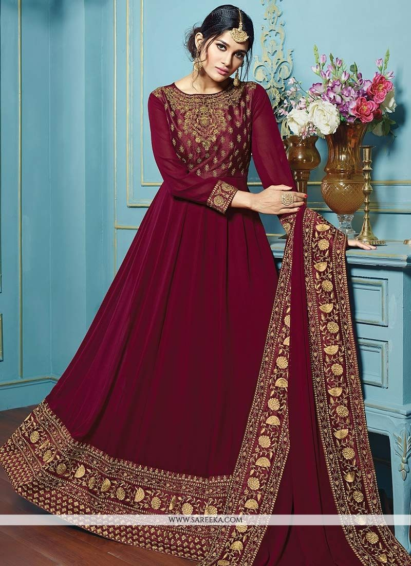 Maroon Embroidered Work Faux Georgette Floor Length Anarkali Suit
