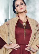 Maroon Embroidered Work Readymade Anarkali Suit