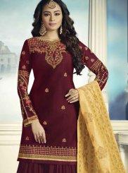 Maroon Faux Georgette Festival Designer Pakistani Suit
