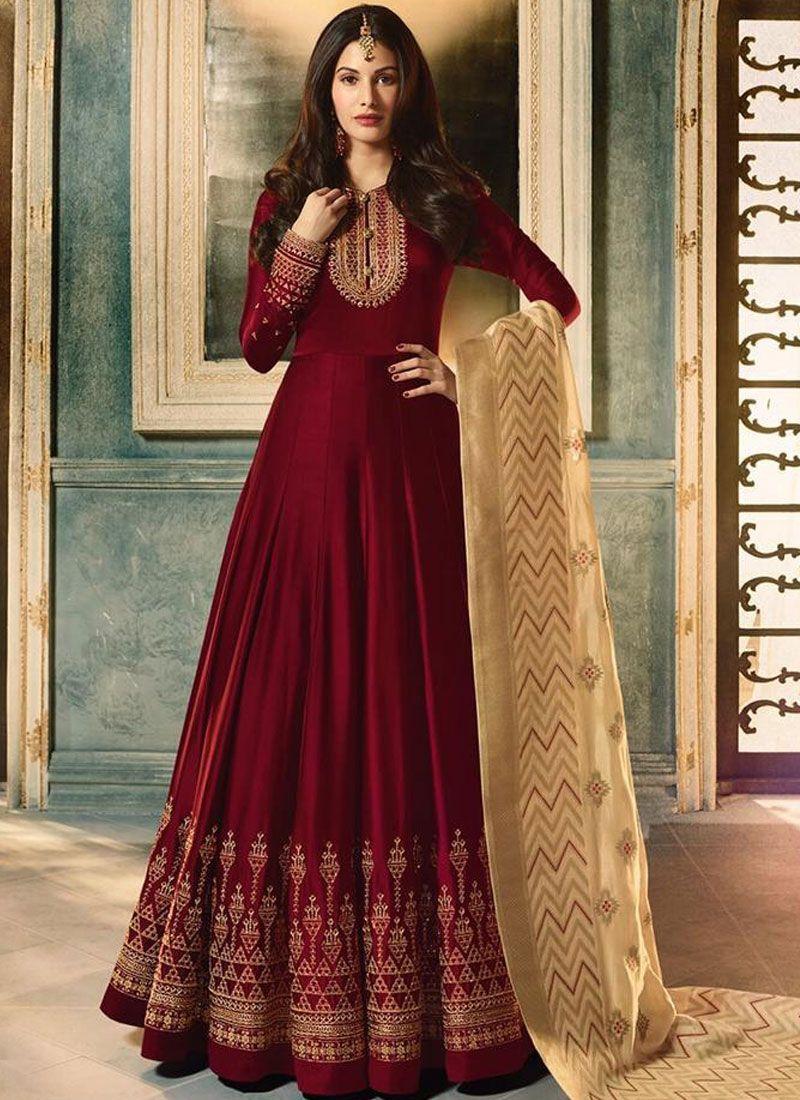 Maroon Faux Georgette Floor Length Anarkali Suit