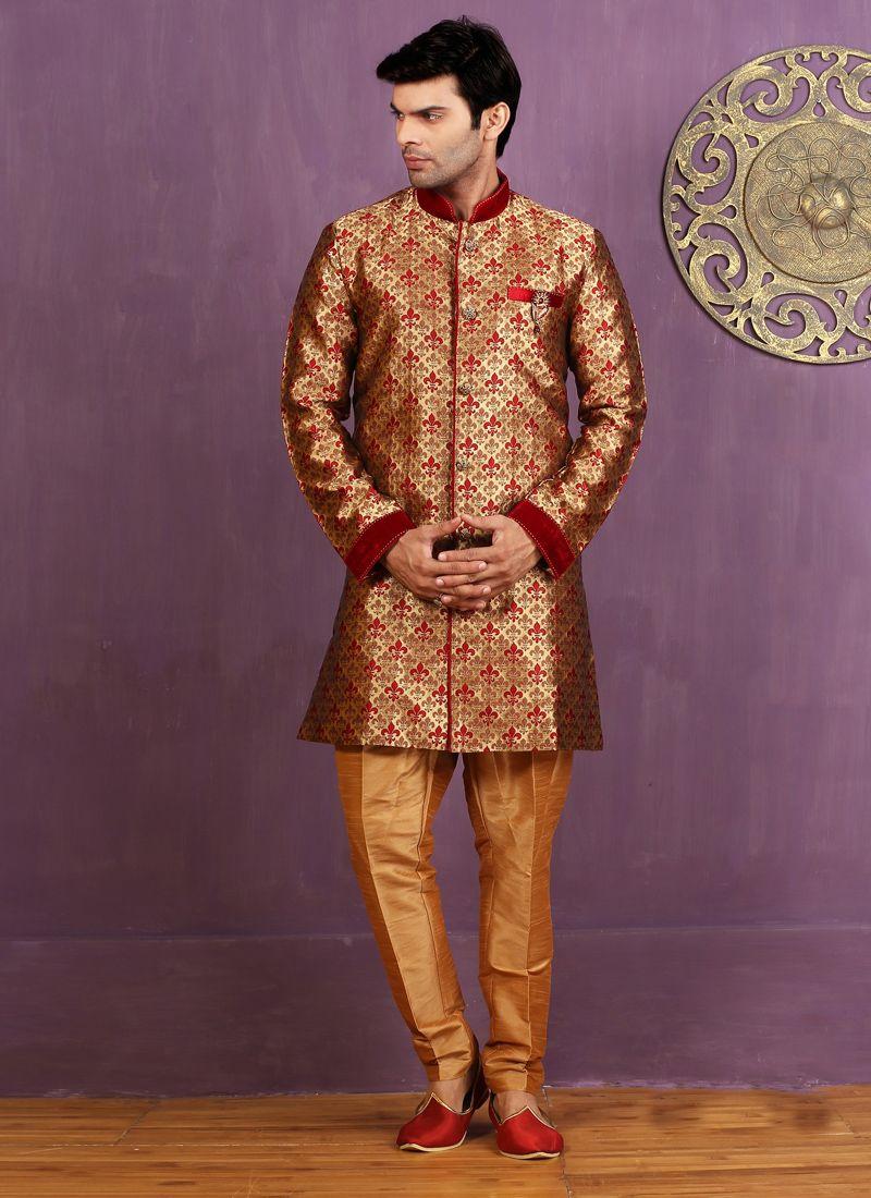 Maroon Jacquard Silk Indo Western Sherwani