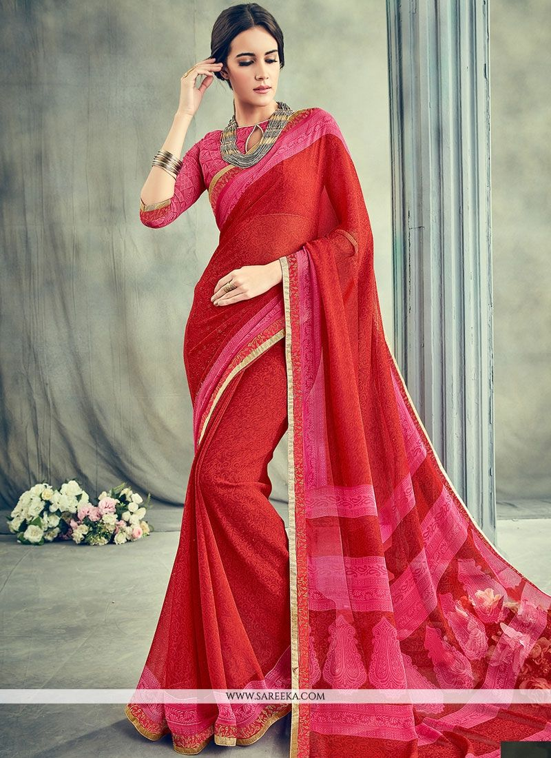 Maroon Lace Work Casual Saree