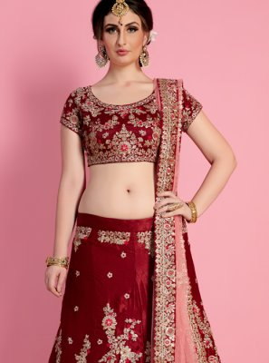 Maroon Lace Work Lehenga Choli