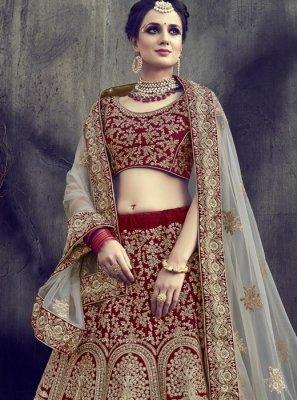 Maroon Lace Work Velvet Lehenga Choli