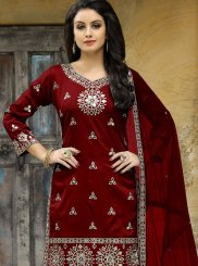 Maroon Mirror Work Punjabi Suit