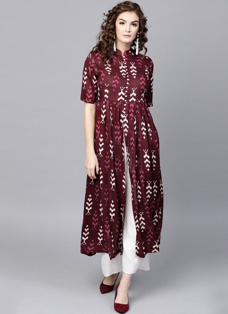 Maroon Party Casual Kurti