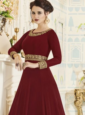 Maroon Party Floor Length Anarkali Suit