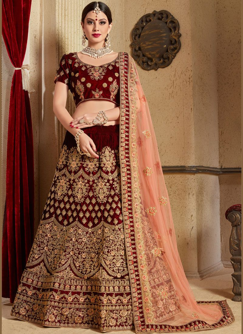 Maroon Patch Border Work Velvet Lehenga Choli