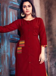 Maroon Print Cotton   Party Wear Kurti