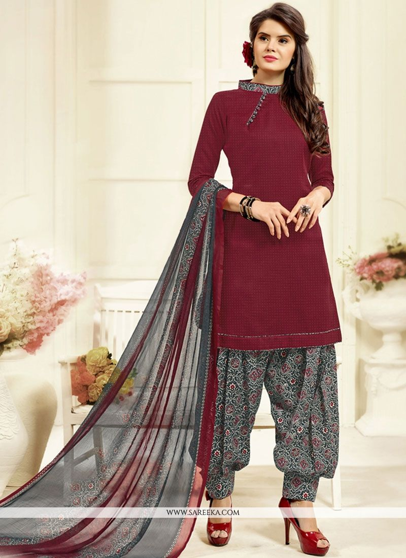 Maroon Printed Work Work Cotton   Patiala Salwar Kameez