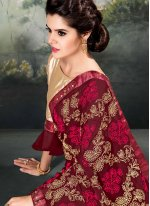 Maroon Resham Faux Georgette Designer Saree