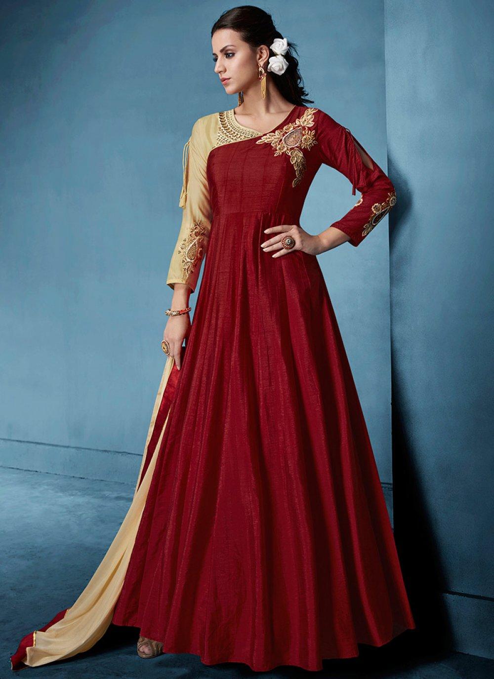 Maroon Resham Floor Length Anarkali Suit
