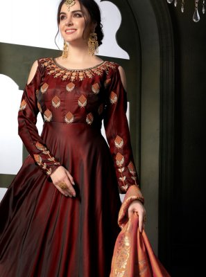 Maroon Resham Tafeta silk Floor Length Anarkali Suit