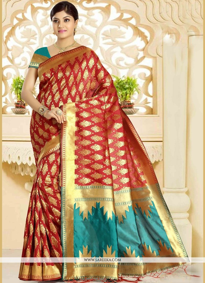 Maroon Weaving Work Art Silk Traditional Designer Saree