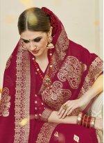 Maroon Weaving Work Designer Traditional Saree