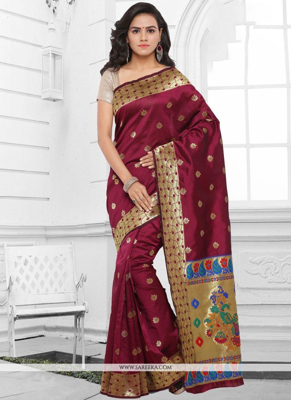 Maroon woven Work Kanchipuram silk Traditional  Saree
