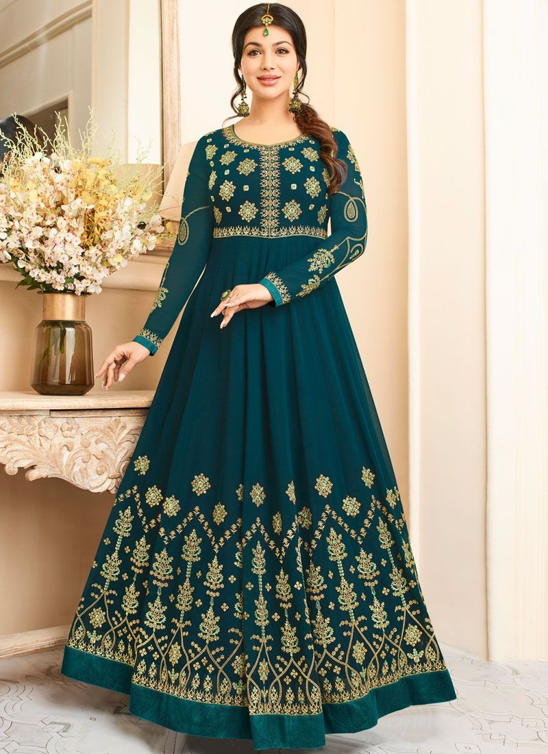 Marvellous Green Colored Anarkali Suit