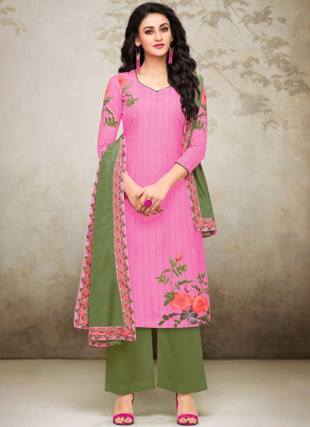 Maslin Silk Digital Print Pink Designer Palazzo Suit