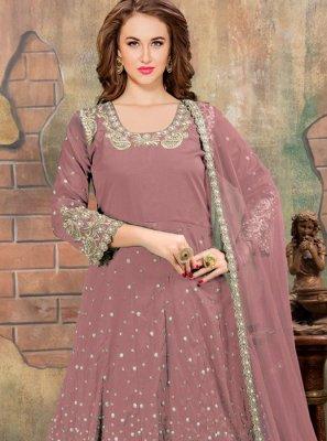 Mauve  Mirror Anarkali Salwar Kameez