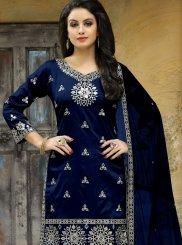 Mirror Tafeta silk Punjabi Suit in Blue