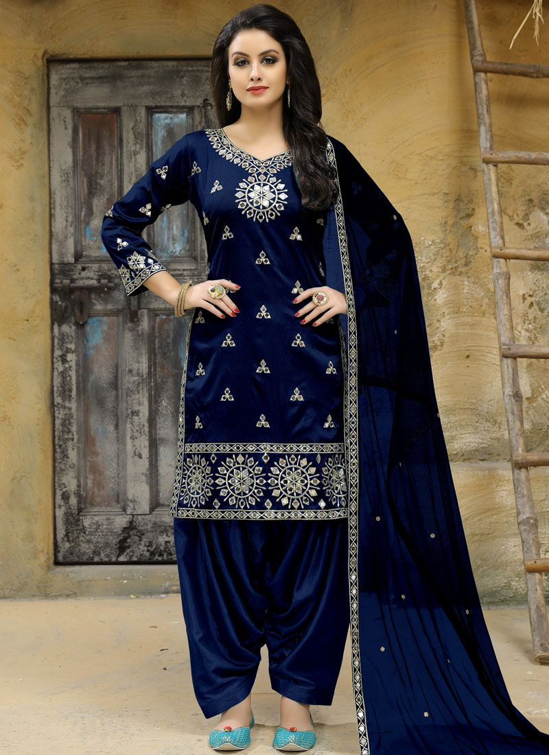 Mirror Tafeta silk Punjabi Suit in Blue