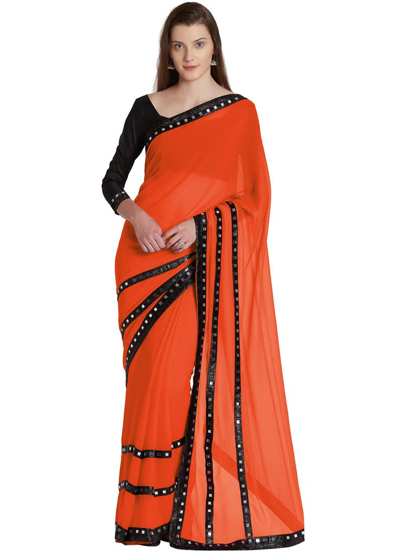 Mirror Work Casual Saree