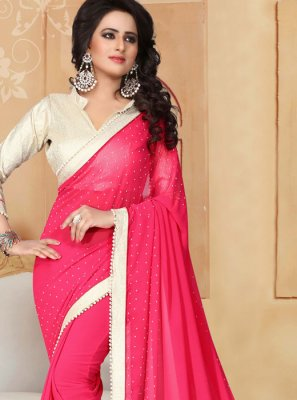 Moti Work Faux Georgette Classic Saree