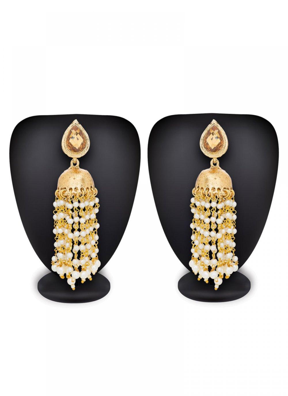 Moti Work Gold Ear Rings