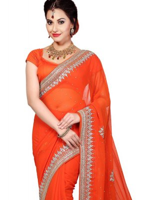 Moti Work Orange Classic Designer Saree