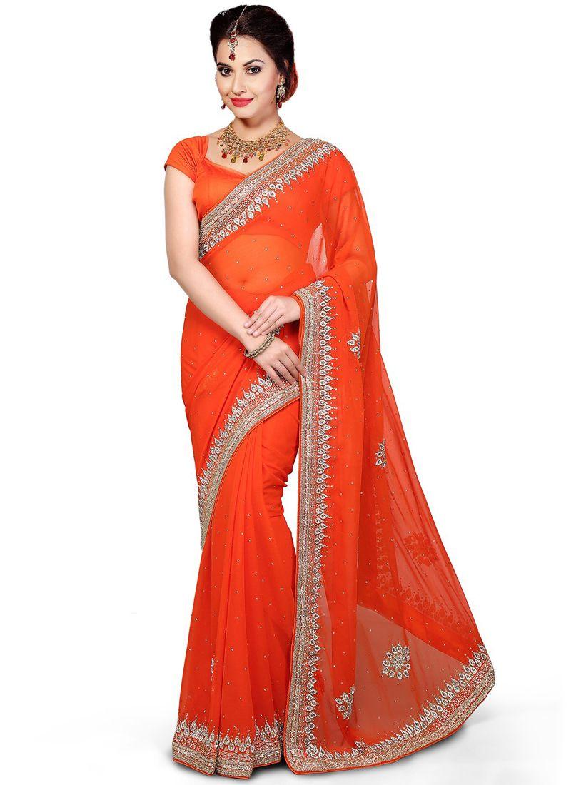 Moti Work Orange Classic Designer Saree