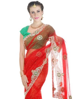 Moti Work Red Net Classic Designer Saree