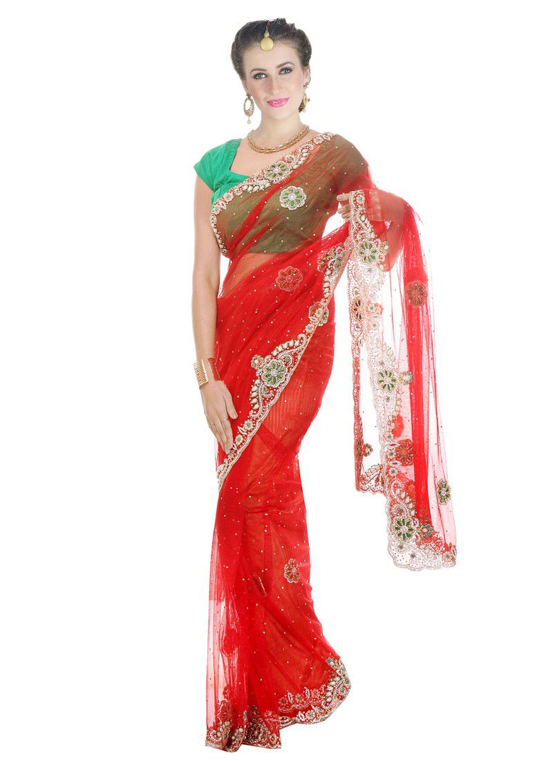 Moti Work Red Net Classic Designer Saree