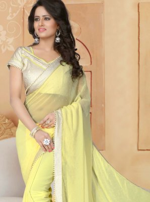 Moti Work Yellow Classic Saree