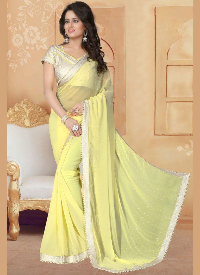Moti Work Yellow Classic Saree