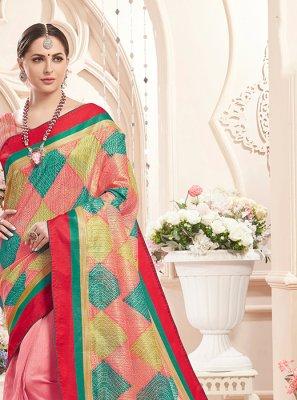 Multi Colour and Pink Print Art Silk Classic Saree