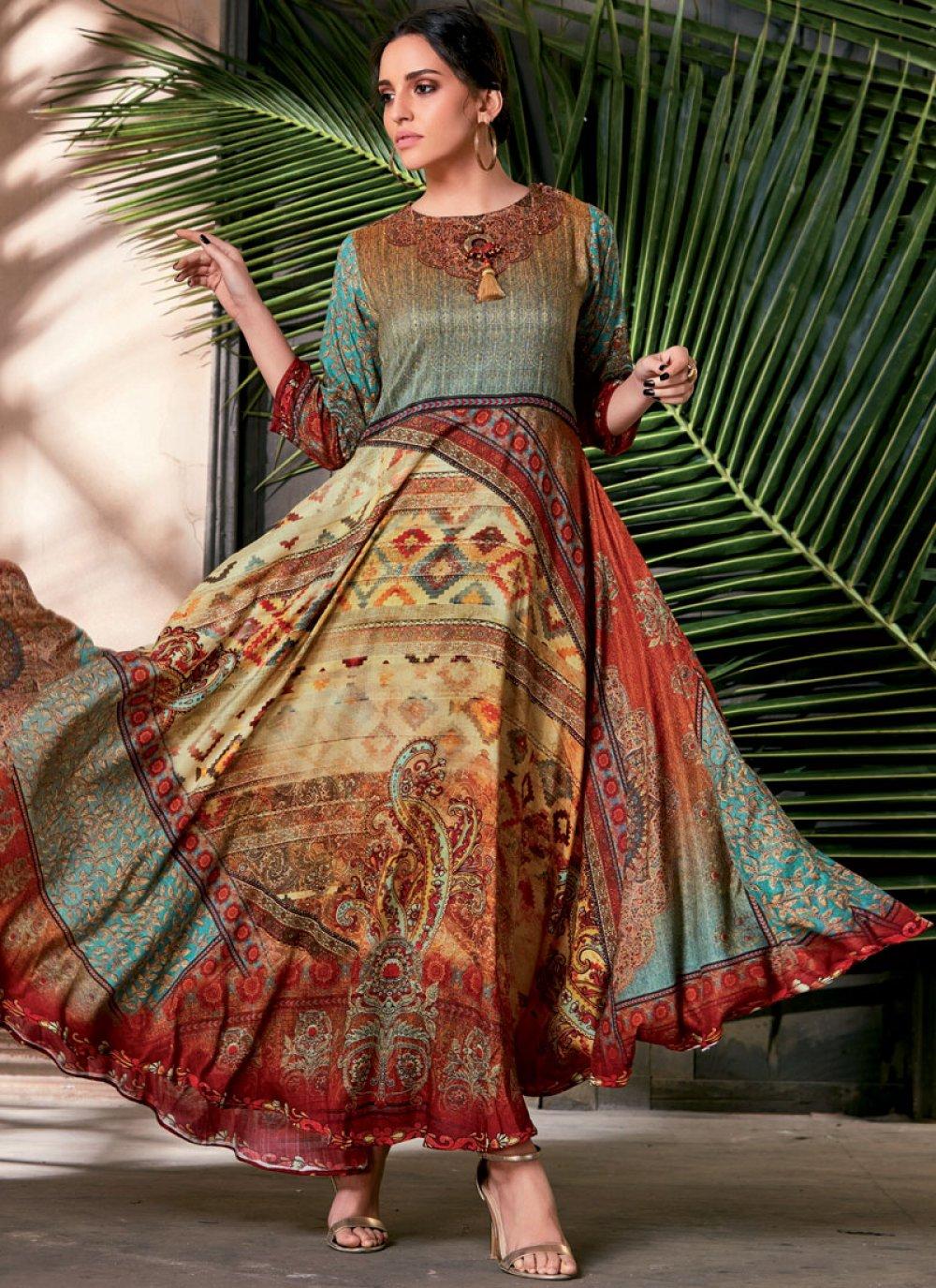 Multi Colour Art Silk Party Wear Kurti