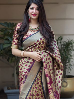 Multi Colour Art Silk Traditional Saree